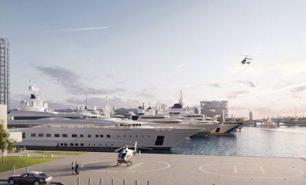 Helikopterlandeplatz am Yachthafen