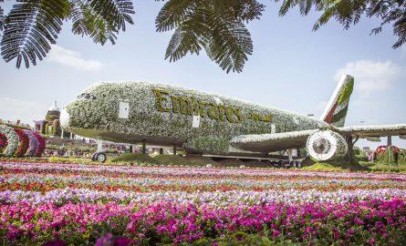 Der A380 in Originalgröße aus Blumen nachgebaut im Miracle Garden