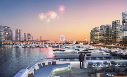 Aussicht vom Dubai Harbour auf das Ain Dubai